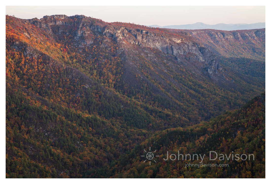 The Chimneys, Fall, Sunset, Linville Gorge Wilderness Area, Pisgah National Forest, NC
