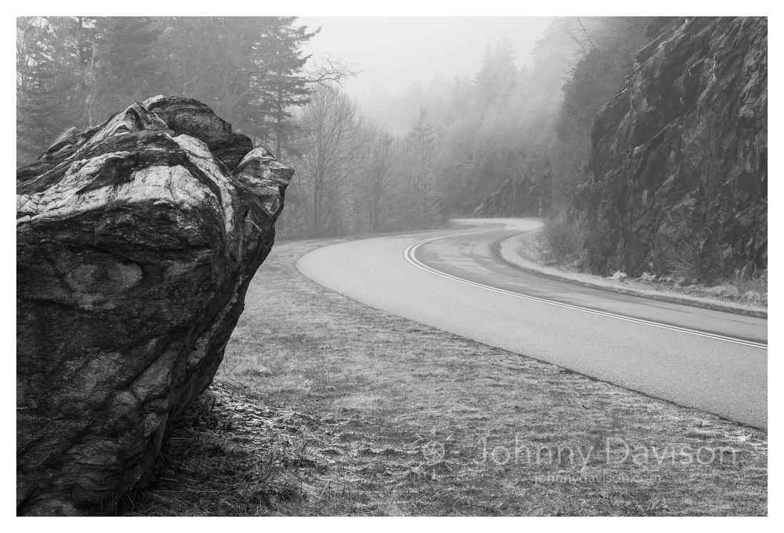 Boulder, Fog, Winter, Blue Ridge Parkway, NC