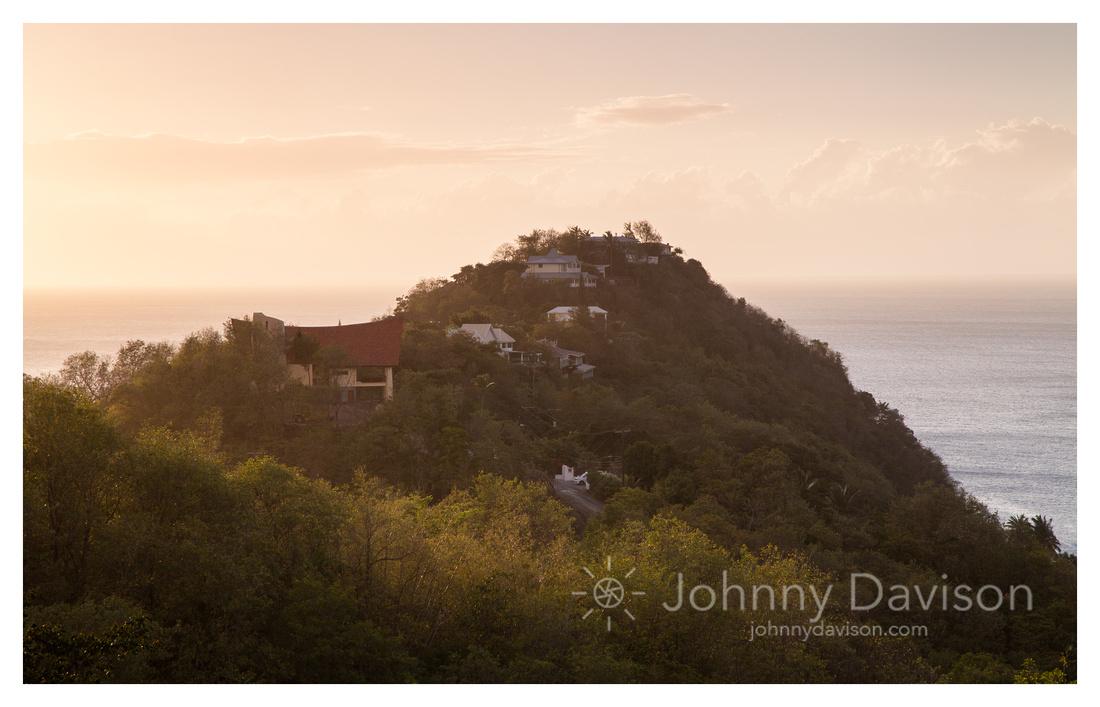 Houses, Evening Light, Marigot Bay, St. Lucia