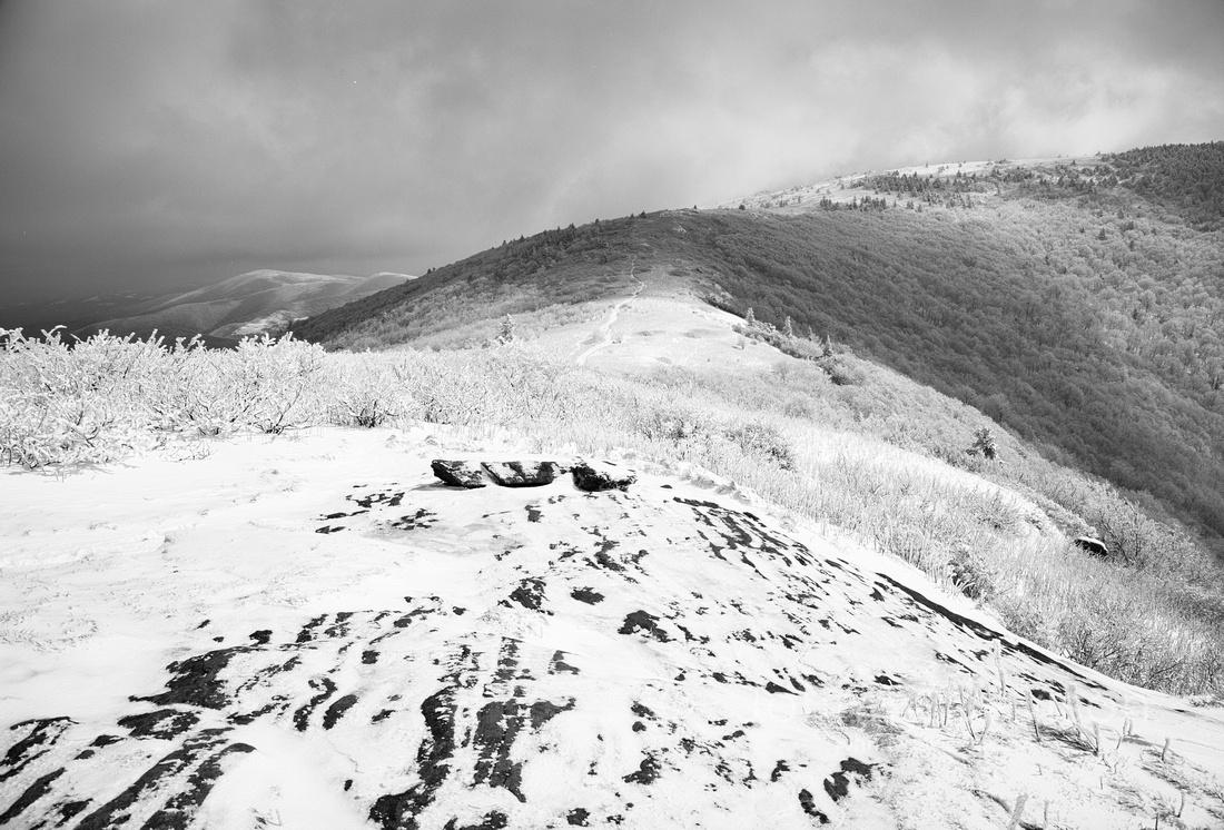 Boulders, Snow, Grassy Ridge Bald, Roan Mountain, Pisgah/Cherokee National Forest, NC/TN