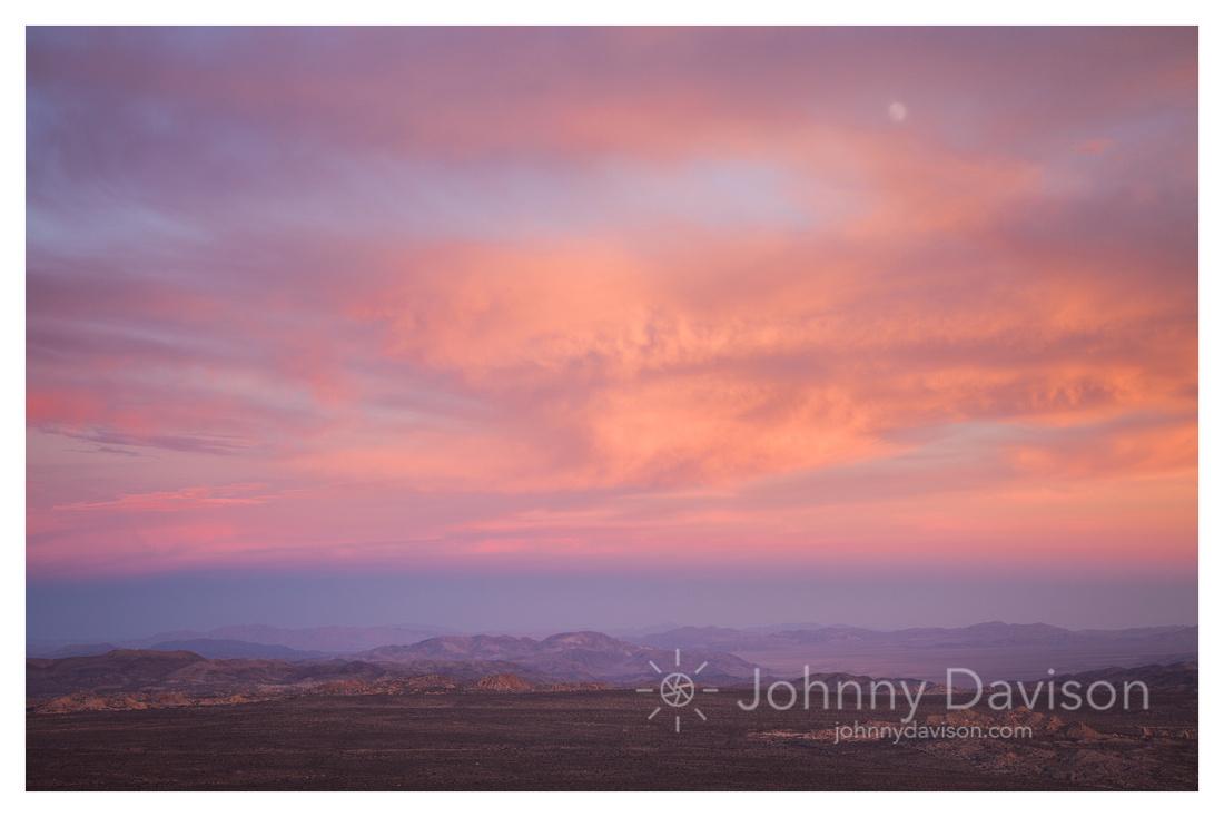 Sunset, Moon, From Ryan Mountain, Joshua Tree National Park, CA