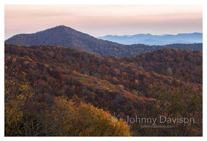 Fall Color, Ridges, After Sunset, Blue Ridge Parkway, NC