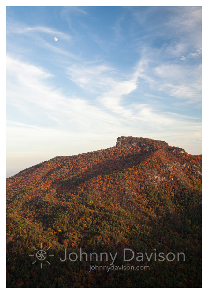 Table Rock, Moon, Fall, Sunset, Linville Gorge Wilderness Area, Pisgah National Forest, NC