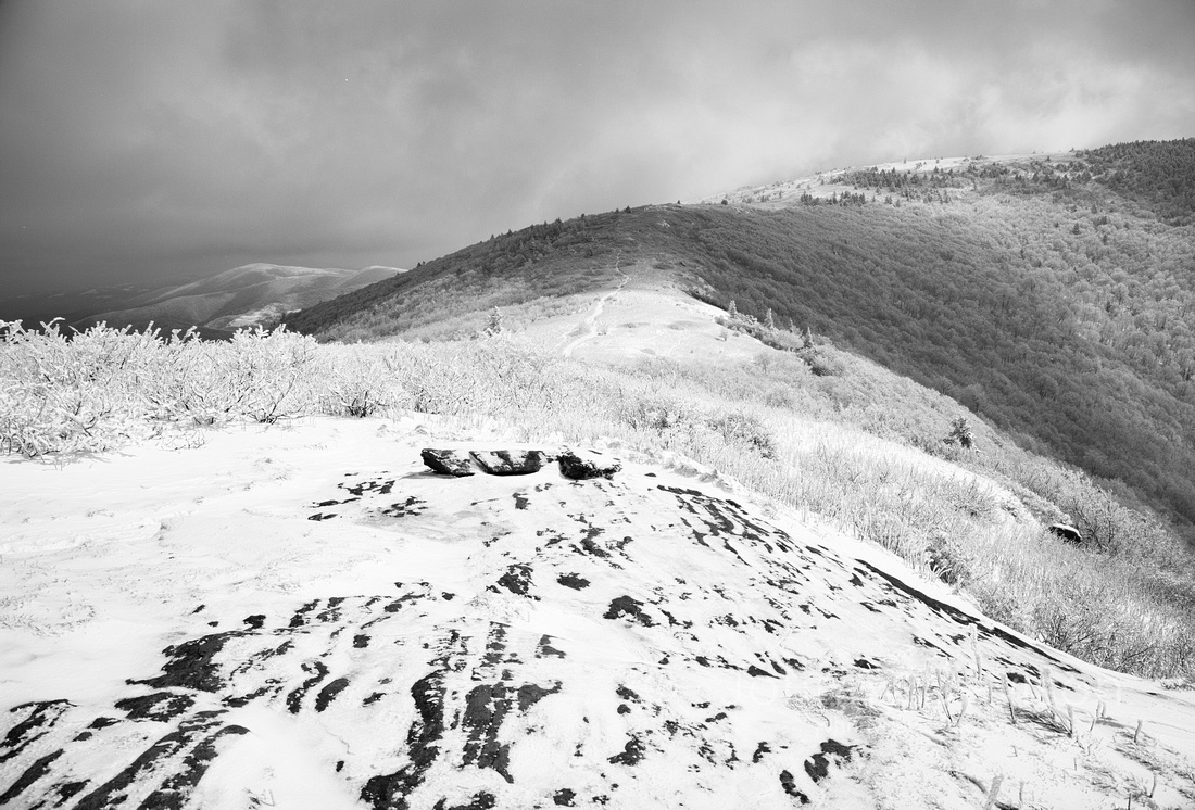 Boulders, Snow, Grassy Ridge Bald, Roan Mountain, Pisgah/Cherokee National Forest, NC/TN