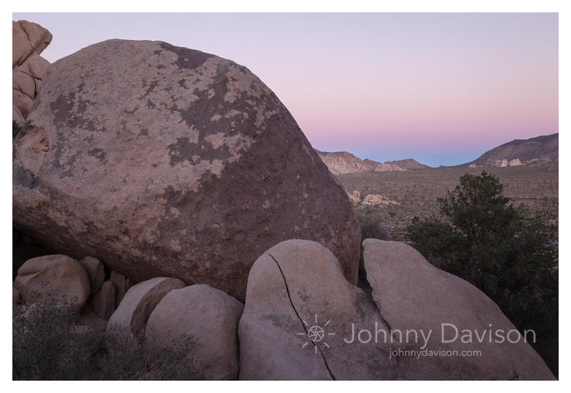 Sunset, Boulders, From Hidden Valley, Joshua Tree National Park, CA