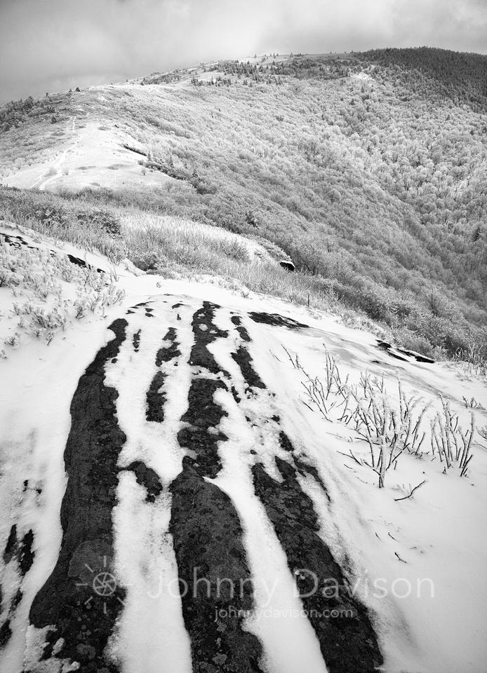 Boulder, Snow, Grassy Ridge Bald, Roan Mountain, Pisgah/Cherokee National Forest, NC/TN